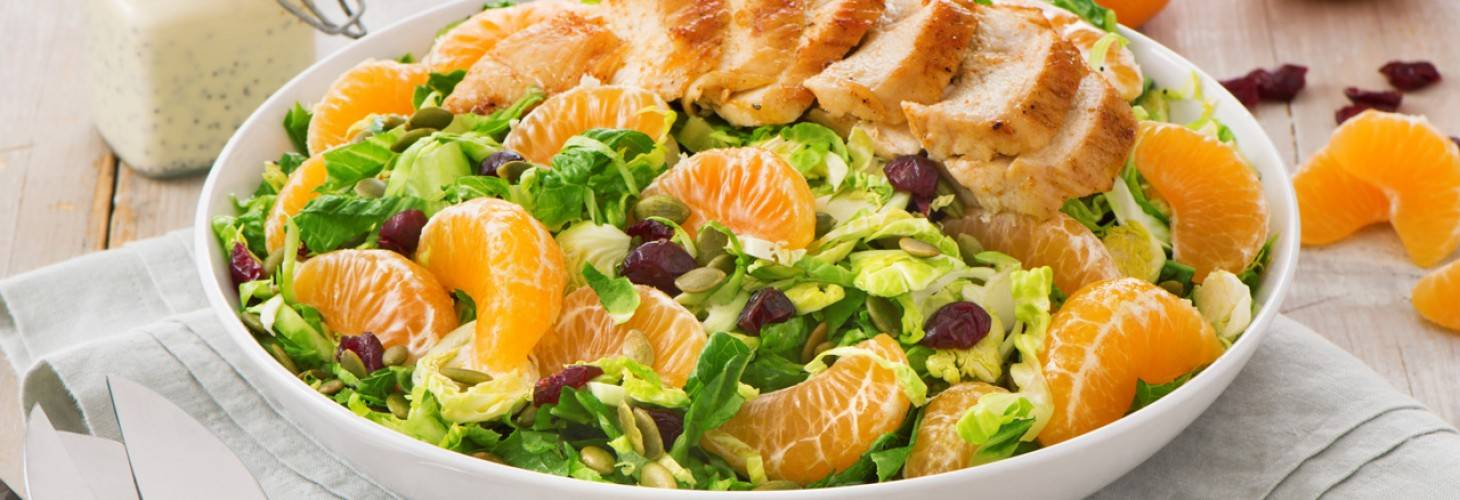 Brussels Sprouts and Cuties® Clementine Salad with Roasted Chicken